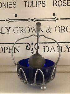 Vintage Art Deco Cobalt Blue Glass Jam Or Sugar Dish, Footed Chrome Holder W/