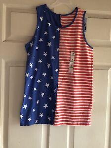 Cat &gack  Red White & Blue Stars & Stripes Flag Dress Girls Size XL 16
