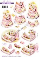 Wedding Cake Die Cut 3D Decoupage Sheet Card Making NO CUTTING REQ