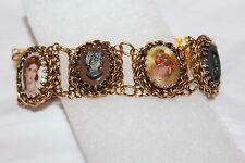"""Vintage Antique? Victorian Cameo Brooch Slide Bracelet Gold Tone 8"""" Bracelet"""