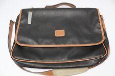 c4b91843493d Geoffrey Beene Two Tone Leather Messenger Bag Black Brown Briefcase  Shoulder Use