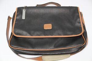 Geoffrey Beene Two Tone Leather Messenger Bag Black Brown Briefcase Shoulder Use