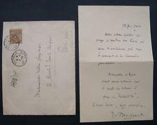 musique : JULES MASSENET : LETTRE AUTOGRAPHE SIGNEE 1902 avec timbre de Monaco