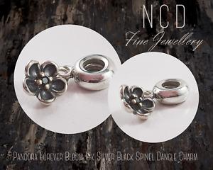 NC Designs Pandora Forever Bloom 14k Silver Black Spinel Dangle Charm 790951SPB
