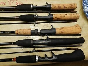 Spin Cast Fishing Rods Lot Of 5 Zebco , Shakespeare ,  Bass Pro . # 495