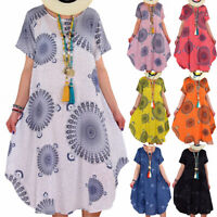Plus size Women Casual Floral Ladies Summer Boho Beach Loose Fit Sun Dress S-5XL