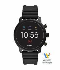 Fossil Gen 4 Explorist HR Smartwatch TouchScreen Stainless Steel Black Rubber