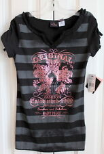 New Baby Phat Fashionista Black Gray Stripe Studded Shirt Girls Sz M