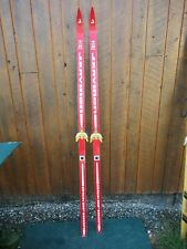 """OLD HICKORY Wooden 74"""" Skis with Original RED Color Finish Great Decoration"""