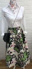 Next Size 16 Skirt Jacquard Beige Green Wedding Occadion Full Flare High Waist