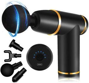 Elektro Massager Massagepistole Mini Muscle Massage Gun Massagegerät mit 4 Köpfe