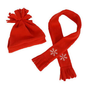 Adorable Red Hat & Scarf Fits Most 16 inch Build A Bear and Make Your Own Stuffe
