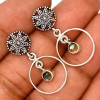 Flower - Rainbow Moonstone - India 925 Silver Earrings Jewelry AE126700 126W