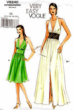 Vogue Sewing Pattern Misses Formal Evening Wedding Sexy Gown Dress Low Cut