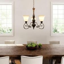 Hampton Bay Carina 3-Light Aged Bronze Chandelier w. Tea-Stained Glass Shade  A6