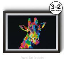 Giraffe Wall Art - Abstract Animal Art Print - Animal Poster Prints - All Sizes