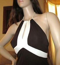 Bebe Sophisticated Halter Style Dress Brown Lined Small Medium 4 6