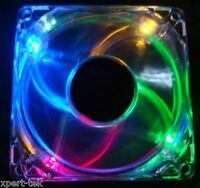 120mm 4-LED Light Neon Quite Clear PC Computer case Bearing Fan Cooling RGB