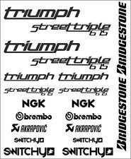 KIT ADESIVI GRAFICHE STICKERS MOTO SPONSOR BLACK CARENE TRIUMPH STREET TRIPLE