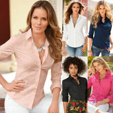 Cotton Blend Solid Tops for Women with Buttons