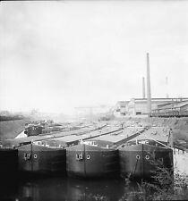 STRASBOURG c. 1950 - Péniches au Port  Bas Rhin - Négatif 6 x 6 - N6 GE32