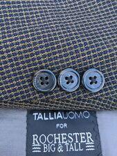 54XL Blue Yellow Tooth Broken Check Textured Plaid Sport Coat Blazer Jacket BIG