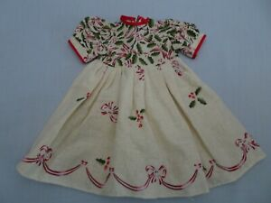 """13.5"""" hand made Christmas Holiday Dress fits 19"""" to 22"""" hard plastic vinyl Doll"""