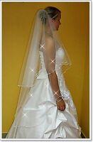 "New 2 Tier White/Ivory Wedding Prom Bridal Veil With Comb 51""-Swarovski Crystals"