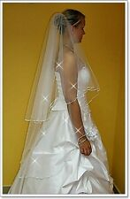 "New 2 Tier White/Ivory Wedding Prom Bridal Veil With Comb 51""-Swarovski Crystals"