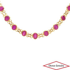 Estate 18.00ct Ruby 18K Yellow Gold Link Necklace 5.5 Grams NR