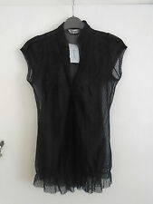 Black See Through Spotted Primark Short Sleeve Blouse / Top in Size 10 - BNWT