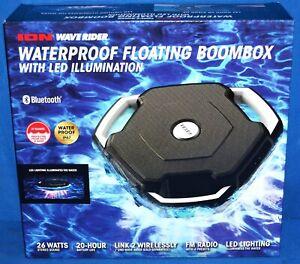 ION Audio Wave Rider Waterproof Bluetooth Speaker/Floating Boombox w/LED Illumin