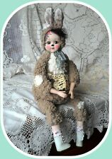 Large boudoir teddy bunny porcelain doll by Petra