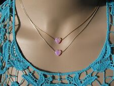 Opal necklace, heart necklace, gold necklace, opal heart necklace, pink opal