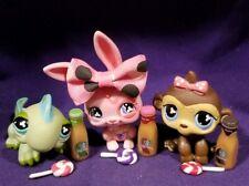Littlest Pet Shop #499 Iguana Green #500 Bunny Pink #501 Monkey Brown Clover Eye