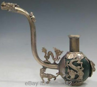 COLLECTIBLE CHINESE SILVER COPPER INLAID JADE HANDMADE DRAGON SMOKE PIPE