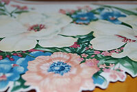 Blue, White and Pink Flowers with Leaves Garden Floral Wallpaper Border W1128