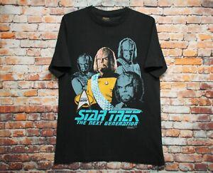 Vtg 90s Star Trek Worf T Shirt LARGE Black Star Trek Enterprise Single Stitch 91