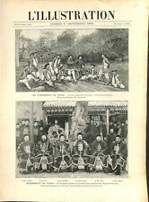 Evénement de Corée Armée Impériale de Chine Canonniers Tatares Asie GRAVURE 1894