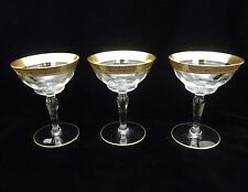 Gold encrusted tall sherbet champagne glasses Optic Lot 3