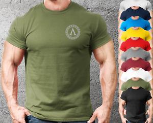 Lambda Spartan Shield LB Gym Fit T Shirt Training Top Semi-Fitted Mens Clothing