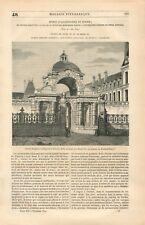 Porte Dauphine Baptistère de Louis XIII Château de Fontainebleau GRAVURE 1844