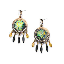 NEW Urban Anthropolo​​gie Macani Tribal Gold Green Rhinestone Spike Drop Earring