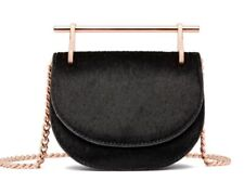 Abbott Lyon Ladies Black Faux Pony Skin Moon Clutch Bag CE073