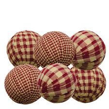 Primitive Country Lot of 6 - Rag Balls 2.25 in Bowl Filler Burgundy GinghamNIP