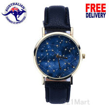 NEW Women Men Stars Sky Night Black Leather Strap Casual Quartz Watch Wristwatch