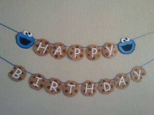 Personalized Sesame Street Cookie Monster Happy Birthday Banner + Name