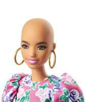 NRFB  New 2020 BARBIE MATTEL FASHIONISTAS 150 BALD PIZZAZZ FLORAL DRESS DOLL