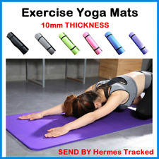 Yoga Mat For Pilate Gym Exercise With Carry Strap 10mm Thick Large Comfort Nbr