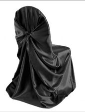 Satin Self-Tie Universal Chair Cover Black - Pre owned
